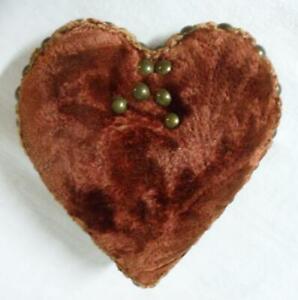Antique Red Mohair Straw Stuffed Pin Cushion Victorian Era