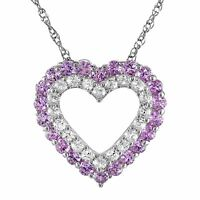 1 1/2 ct Created Pink & White Sapphire Heart Frame Pendant in Sterling Silver