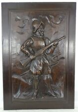 Antique French Solid Walnut Carved Wood Door/Panel  - Middle Ages Soldier Rifle
