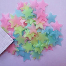 Colourful 100pcs Glow In The Dark Stars Wall Decal Sticker Bedroom Home Decor US
