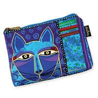 Laurel Burch Whiskered Cat Blue Purple Cosmetic Zipper Case New