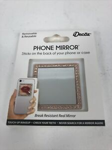 IDecoz Square Phone Mirror Rose Gold w/ Crystals Removable & Reusable Free Ship