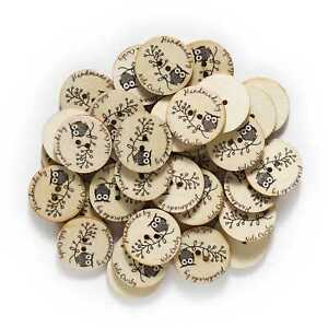 50pcs Owl Wood buttons for Sewing Scrapbooking Clothing Crafts Handmade 25mm