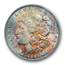 1897 $1 Morgan Dollar PCGS MS 63 Uncirculated Colorful Toned Beauty Pretty