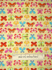 Butterflies Butterfly Fly Yellow  Cotton Fabric Timeless Treasures C3750 YARD