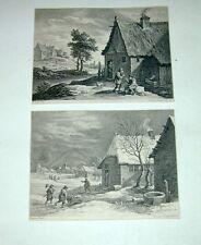 David Teniers Surugue Herbst Winter Original Kupferstiche copper engravings 1750