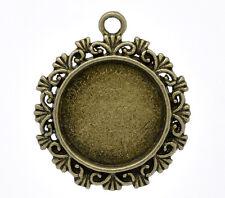 10 Novità Ciondoli Cornice Basi per Cammeo Cabochon Tondo Color bronzo 34x30mm