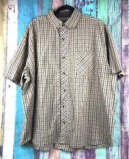 CE SCHMIDT Work Wear Big Mens Sz 3X XXXL Shirt Short Sleeve Brown Beige Plaid