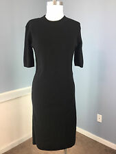 LACOSTE S M 40 Black short sleeve Sweater Dress EUC Wool Career Casual stretch