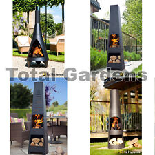 Modern Stylish Steel Chimenea Chiminea Patio Heater BBQ Fire Pit Garden Outdoor