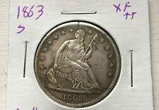 1863 S 50C Seated Half Dollar Full Xf Very Tough Date