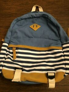 Blue, Tan and White Canvas Backpack - New
