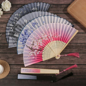 Retro Chinese Silk Bamboo Folding Fan Floral Painting Hand Held Fans Dan WSAPUK