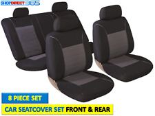 UNIVERSAL 8 PC BLACK/GREY FULL CAR SEAT COVER PROTECTORS SET FRONT & BACK 5500DG