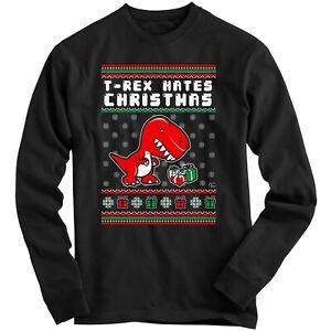 1Tee Kids Boys T-rex Hates Christmas Dinosaur Sweatshirt Jumper