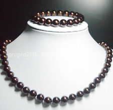 10mm Round Brown South Sea Shell Pearl Necklace 18'' Bracelet 7.5'' Set PN925