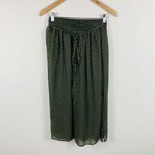 Lee Mathews Womens Skirt Size 1 Green White Polka Dot Elastic Waist Wrap Style