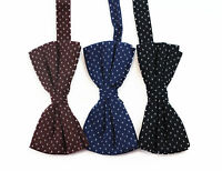 MENS WHITE STAR COTTON BOW TIE PRE-TIED MEN BOWTIE WEDDING BLACK NAVY BROWN