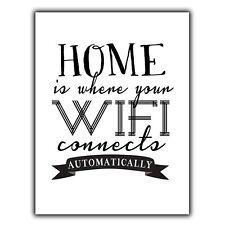 El hogar es donde el WiFi se conecta automáticamente Metal Placa De Pared Letrero Divertida Cita