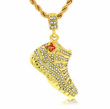 "14k Gold Plated Hip Hop Iced CZ Retro 11 Red 23 Pendant 4mm 24"" Rope Chain"