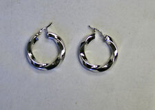 18K Gold bonded over Sterling Silver Large Twisted Hoop Earrings, White