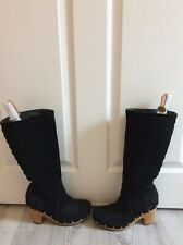 Uggs Black Suede Clogs Women's Size 7M Woven Mid-Calf Boots