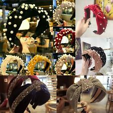 Women Diamond Jewel Gems Pearl Headband Crystal HairBand Girl Ladies Headwear U