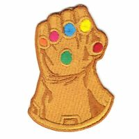 Gold Gems Gauntlet Glove Iron On Embroidered Applique Patch
