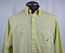 Nautica Mens Business Casual Shirt Medium Button Down Yellow Blue Checked M