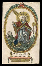santino incisione 1700 S.BIAGIO V. SI SEBASTE M. dip. a mano