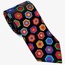 New 100% Silk Geometric Men's Neck-Tie Vibrant Multi-color Bright Lawrence Ivey