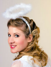 weißer Heiligenschein mit Haarreif aus Federmarabu Engel Weihnachten