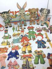 Rare Vtg Kitten Puppy Bunny Bear Baby Animals Paper Dolls + Clothes, Accessories