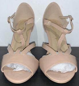 Kaleidoscope Nude T-Bar Patent Sandals ~ Size 4 ~ BNIB