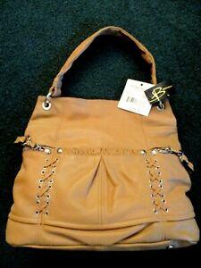 B. MAKOWSKY Tan Soft Leather Hobo Bag Satchel Designer Purse NWT $278 value!
