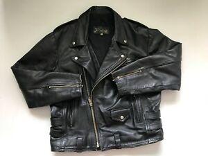 Old 1970s Vintage Original LEATHER Motorcycle Biker Style Mens Jacket Size LARGE