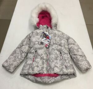 NWT WEATHERPROOF Girls Jacket Removable Hood White Knit Floral Size 4T New