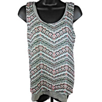 Just Be Women's Gray & Multi-Color Zig Zag Striped Tank Top Junior's Size Small