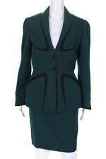 Thierry Mugler Womens Wool Snap Close Blazer Skirt Suit Set Green Size 40