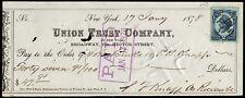 c208 revenue stamp on Jan. 1878 check: Union Trust Co. New York