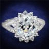 S415 STERLING SILVER SIMULATED DIAMOND RING WOMENS OVAL ACCENTS STAMPED CLEAR