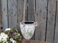Chic Antique Hängetopf Blumenampel Rosen Toulouse Keramik Haus und Garten