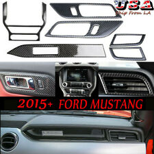 6PCS Carbon Fiber Interior Dashboard Console Trim For 2015-2020 Ford Mustang