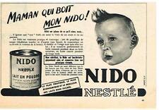 ADVERTISING ADVERTISING 1952 NESTLE NIDO milk non sweeten powder