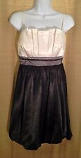 THREE PINK HEARTS Size 7 Satin WHITE BLACK Pleated Bust Bubble Skirt PARTY DRESS