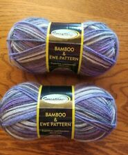 2 Skeins Sensations Bamboo & Ewe Sock Yarn Color #2280 Purple/Black Pattern