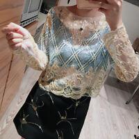Fashion Womens Nightclub Sequin Glitter Net Cloth Loose O Collar Two-Tone Top