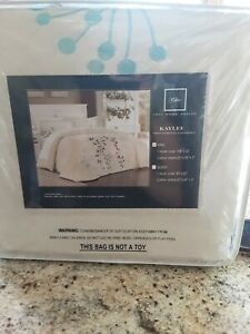 Kaylee 3 PC  Duvet KING Beige W TURQUOISE & BROWN EMBROIDERY  NW Defects