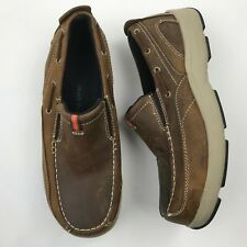 Hush Puppies Men Brown Leather Slip On Boat Shoes sz 11 M