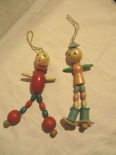 2 Vintage handmade? Wooden Bead Dolls Baby Crib Boy/Girl jointed toy decoration